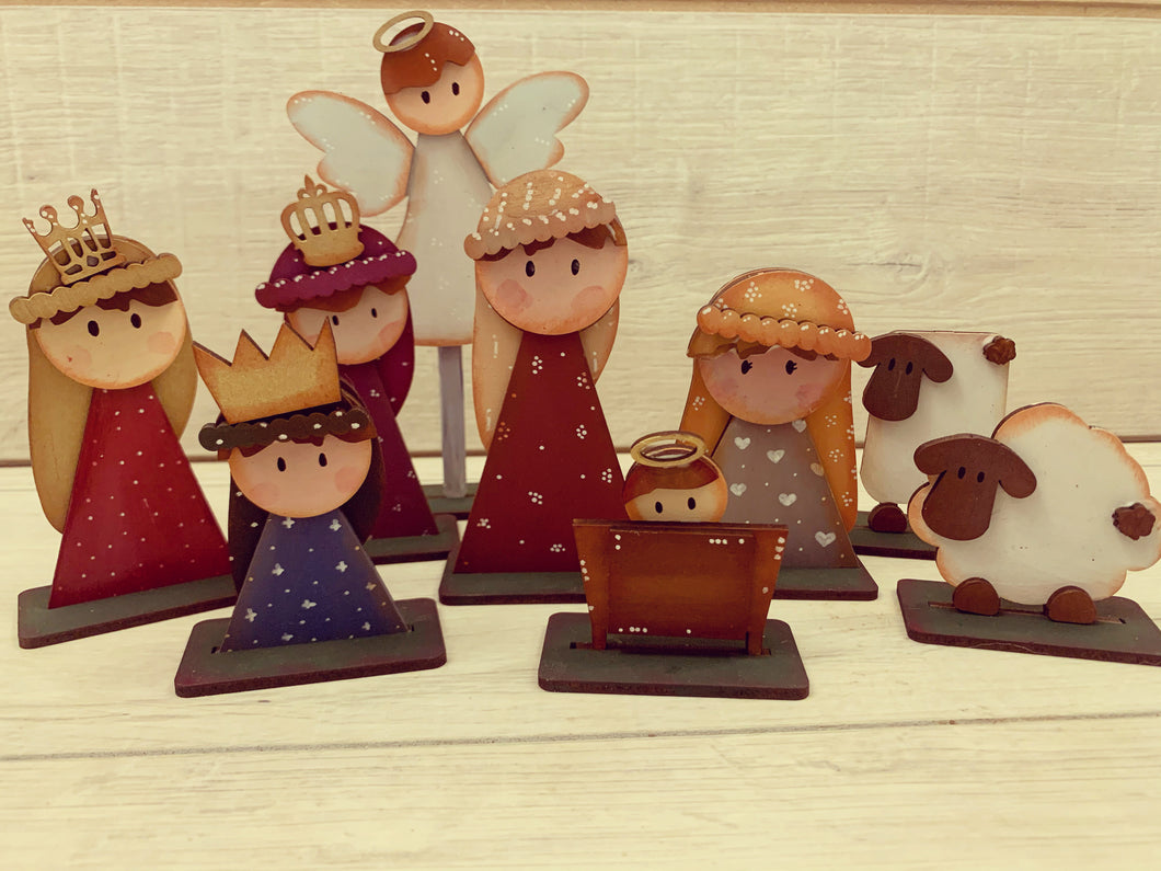 CH220 - MDF set of 9 Freestanding Nativity Figures