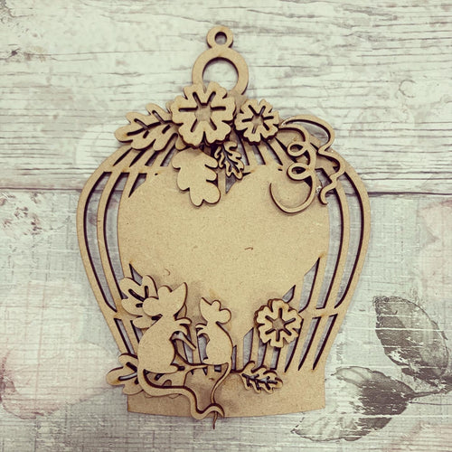 HC129 - MDF  Autumn Mice  Birdcage