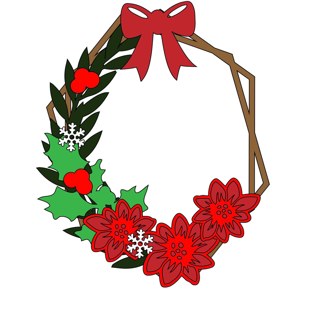HX020 - MDF  Poinsettia Hexagonal Wreath