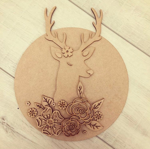 HC042 - MDF Stag head - Large Circle Plaque