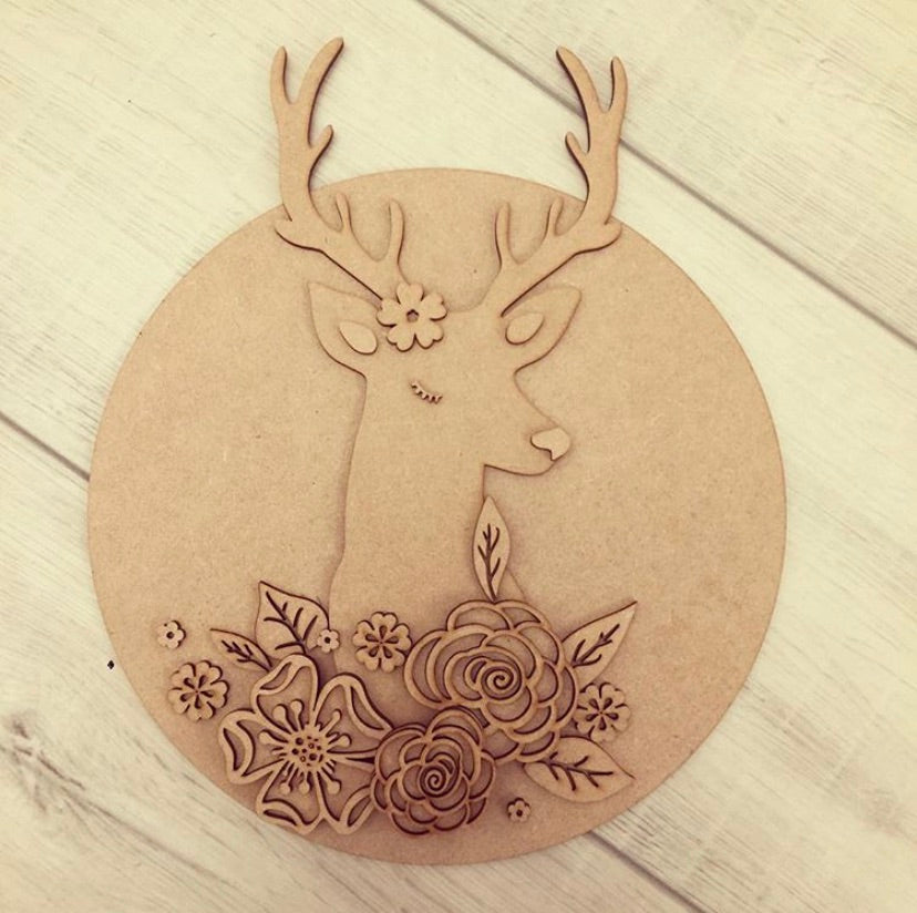 HC042 - MDF Stag head - Large Circle Plaque - Olifantjie - Wooden - MDF - Lasercut - Blank - Craft - Kit - Mixed Media - UK