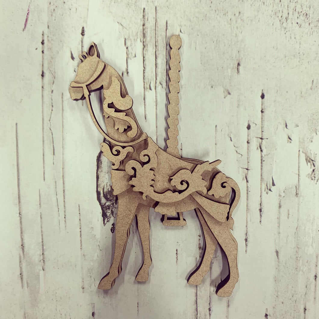SJ230 - MDF Carousel Giraffe - Olifantjie - Wooden - MDF - Lasercut - Blank - Craft - Kit - Mixed Media - UK
