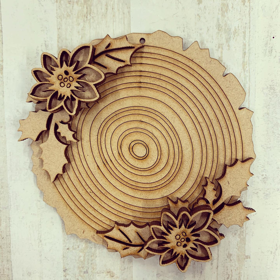 CH148 - MDF Wood Slice Effect Poinsettia Christmas Bauble