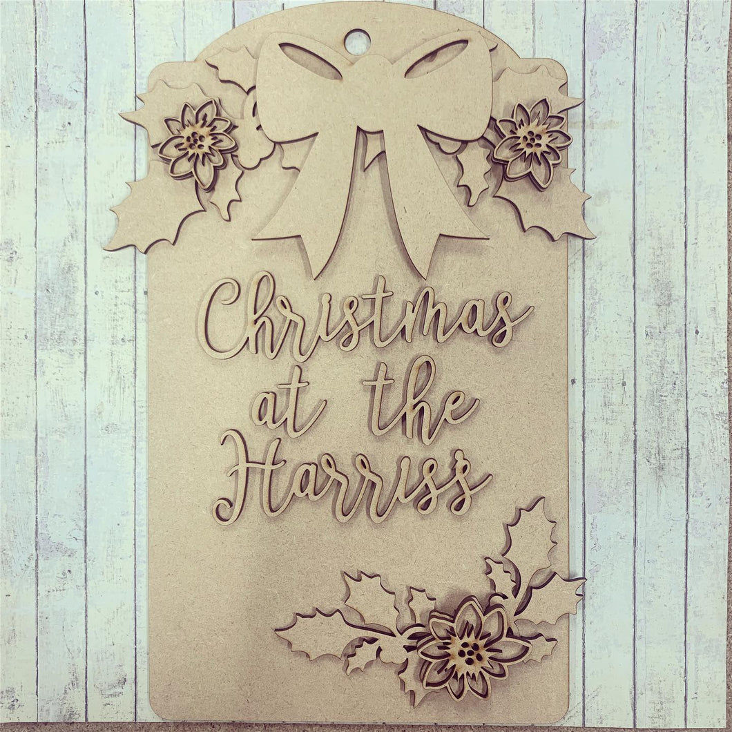 DT001 - MDF Large Hanging Door Tag / Luggage Label Holly & Poinsettia