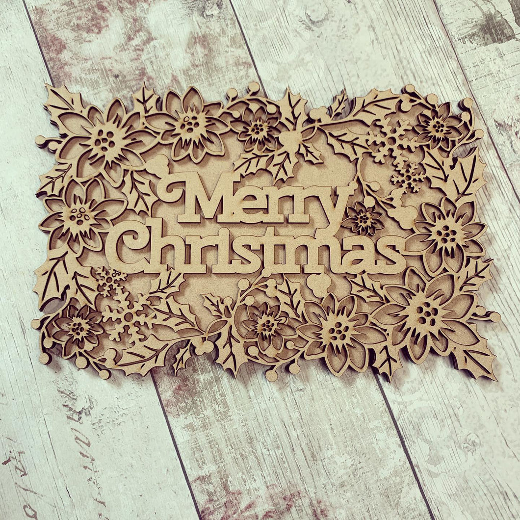 CH208 - MDF Layered Christmas Word Art Plaque - Merry Christmas