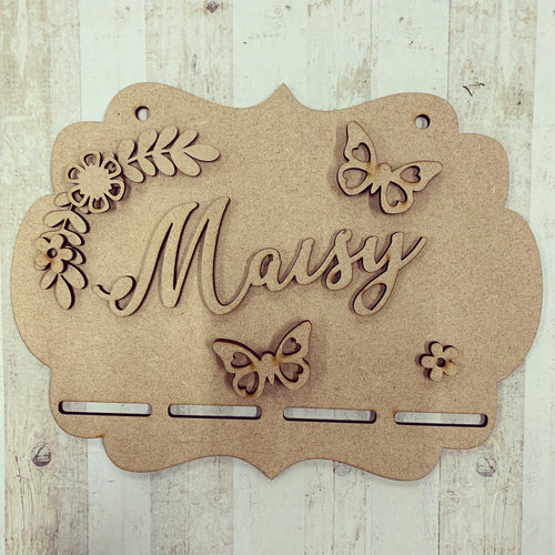 BH029 - MDF Butterfly Themed - Medal / Bow Holder - Personalised & Choice of Shape