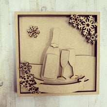 LH020 - MDF Prosecco Frame Square 3D Plaque - Two Sizes - Olifantjie - Wooden - MDF - Lasercut - Blank - Craft - Kit - Mixed Media - UK