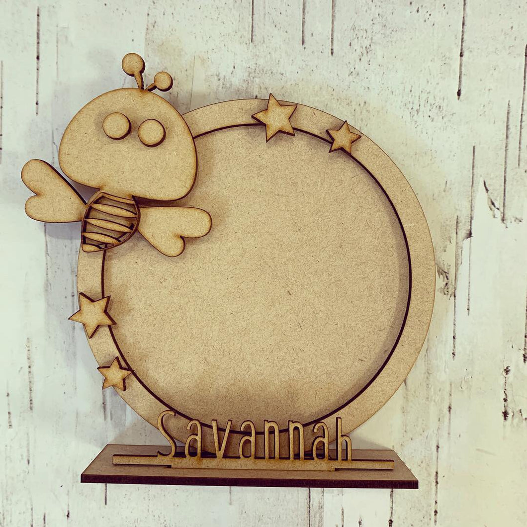 CF033 - MDF Cute Bee Themed Personalised Freestanding Circular Photo Frame
