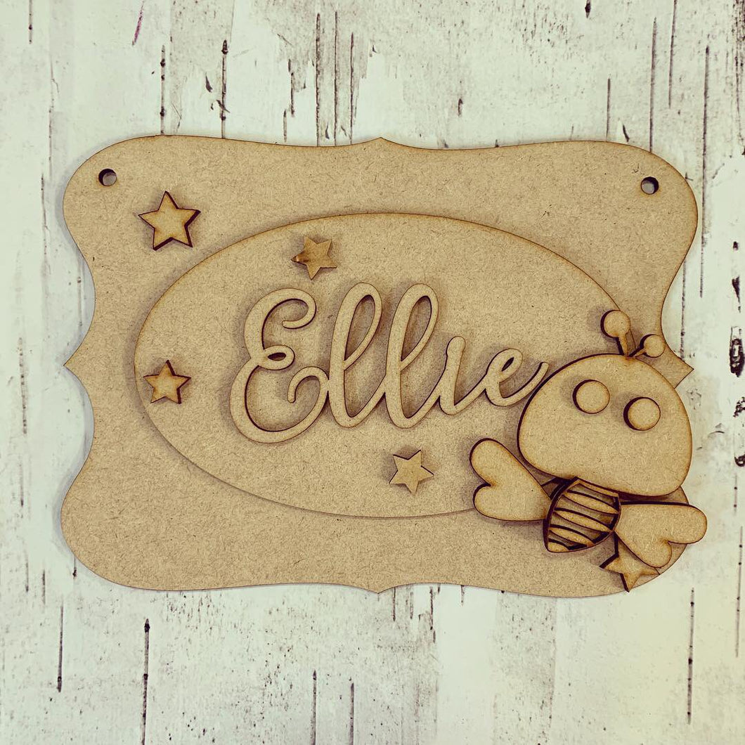 OP053 - MDF Cute Bee Themed Personalised Plaque