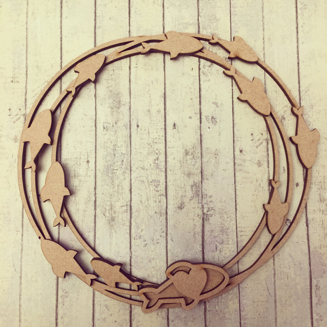 W029 - MDF Fish in Sea Wreath