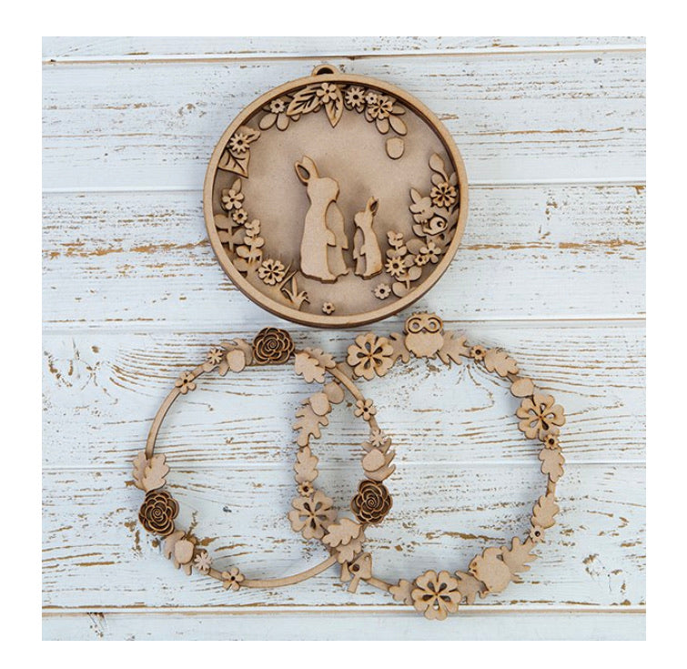 OL367 - MDF Layered Bunny and Wreath Hoops