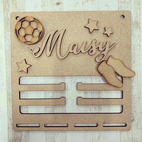BH022 - MDF Football Themed - Medal / Bow Holder - Personalised & Choice of Shap- Medal / Bow Holder - Personalised & Choice of Shaped