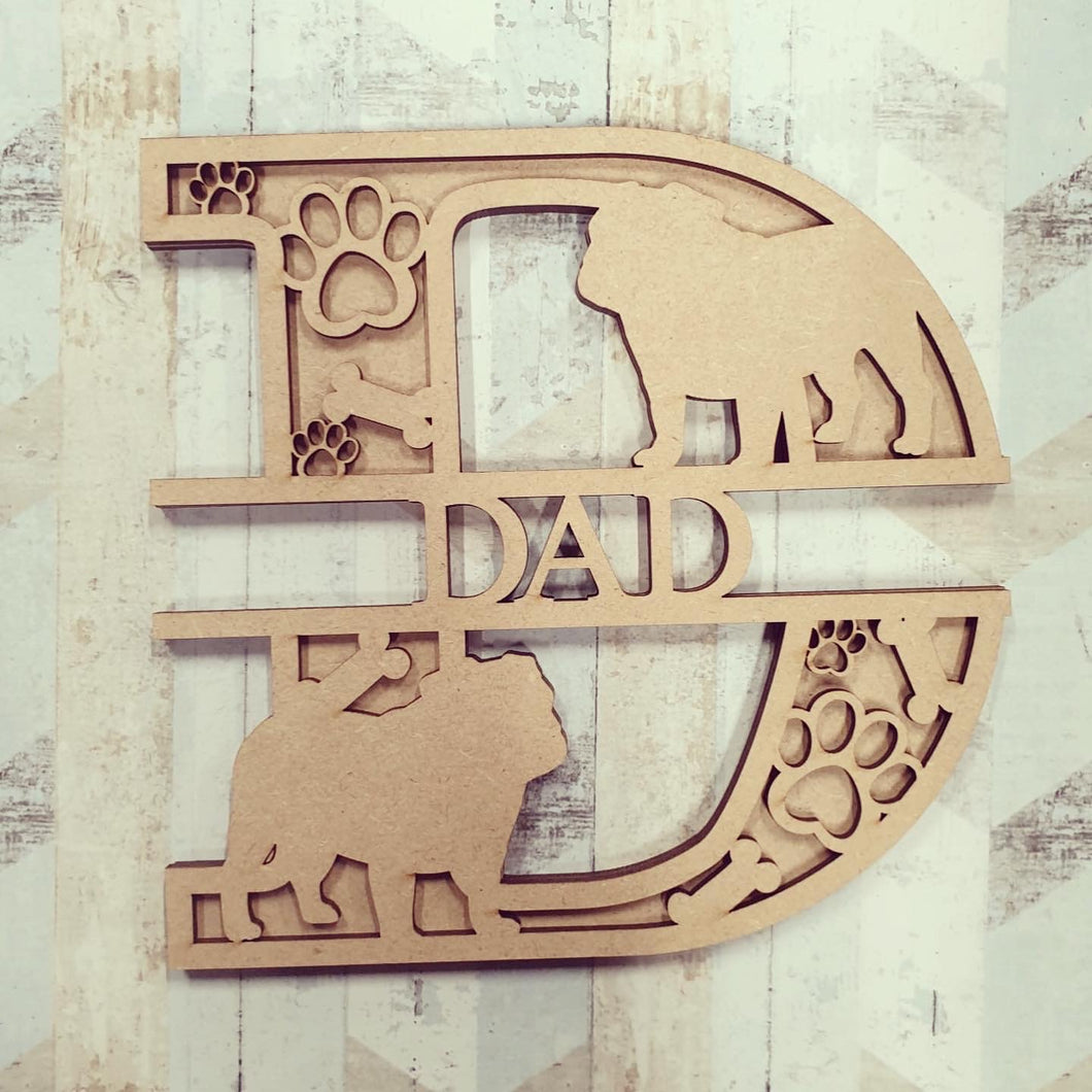 DL042 - MDF Pug Themed Layered Letter (without name)