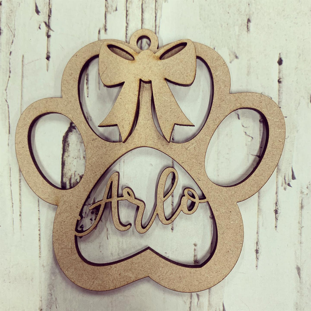 CH170 - MDF Personalised Paw Print with Bow Bauble/Hanging