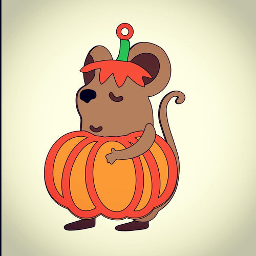 OL396 - MDF Pumpkin Mouse Hanging Halloween Bauble