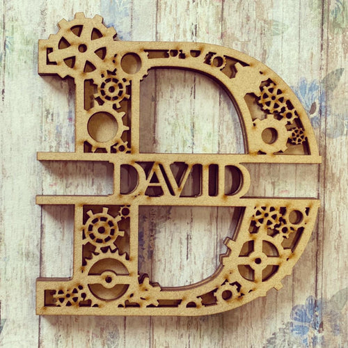 SL024 - Cogs Steampunk Themed Split Layered Personalised Letter