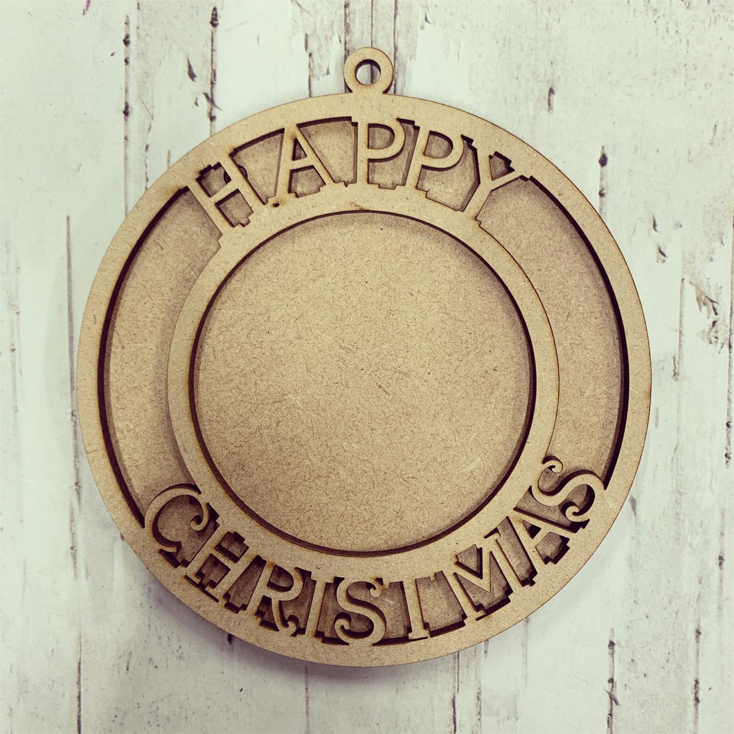 OL327 - MDF Picture Frame Hanging - Happy Christmas - Olifantjie - Wooden - MDF - Lasercut - Blank - Craft - Kit - Mixed Media - UK