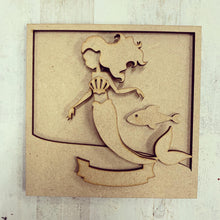 LH018 - MDF Mermaid Frame Square 3D Plaque - Two Sizes