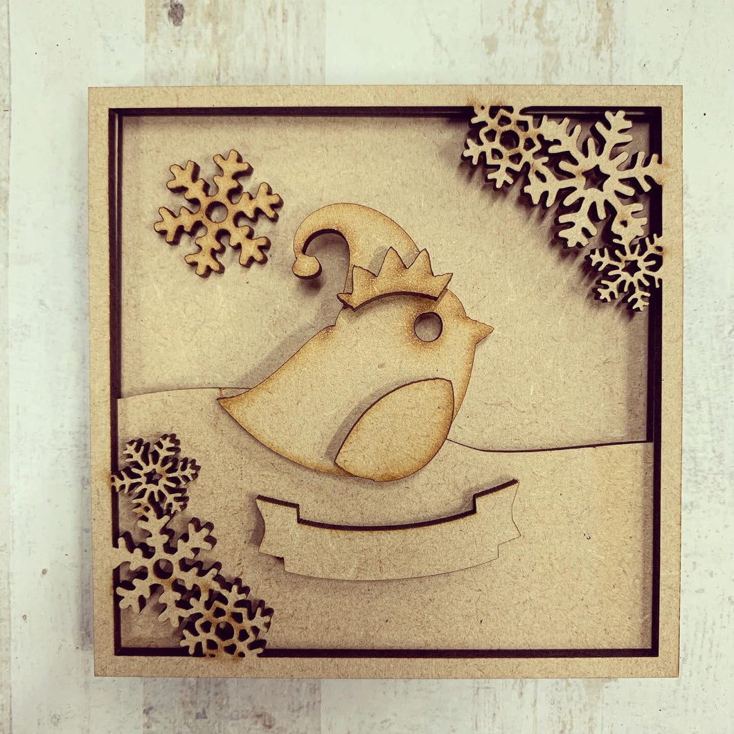 LH016 - MDF Robin Frame Square 3D Plaque - Two Sizes - Olifantjie - Wooden - MDF - Lasercut - Blank - Craft - Kit - Mixed Media - UK