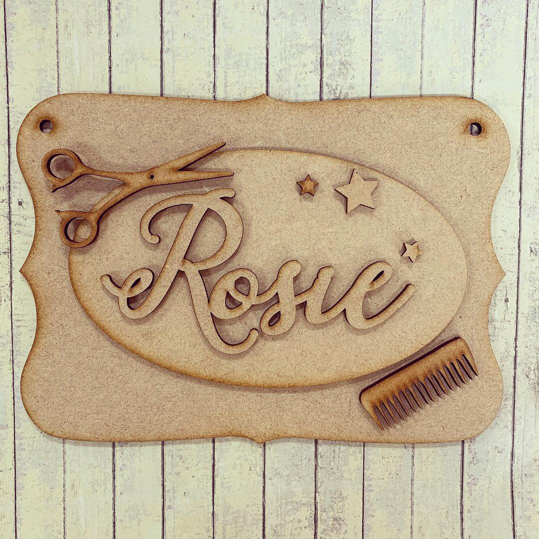 OP044 - MDF Hairdressing Barber Themed Personalised Plaque - Olifantjie - Wooden - MDF - Lasercut - Blank - Craft - Kit - Mixed Media - UK