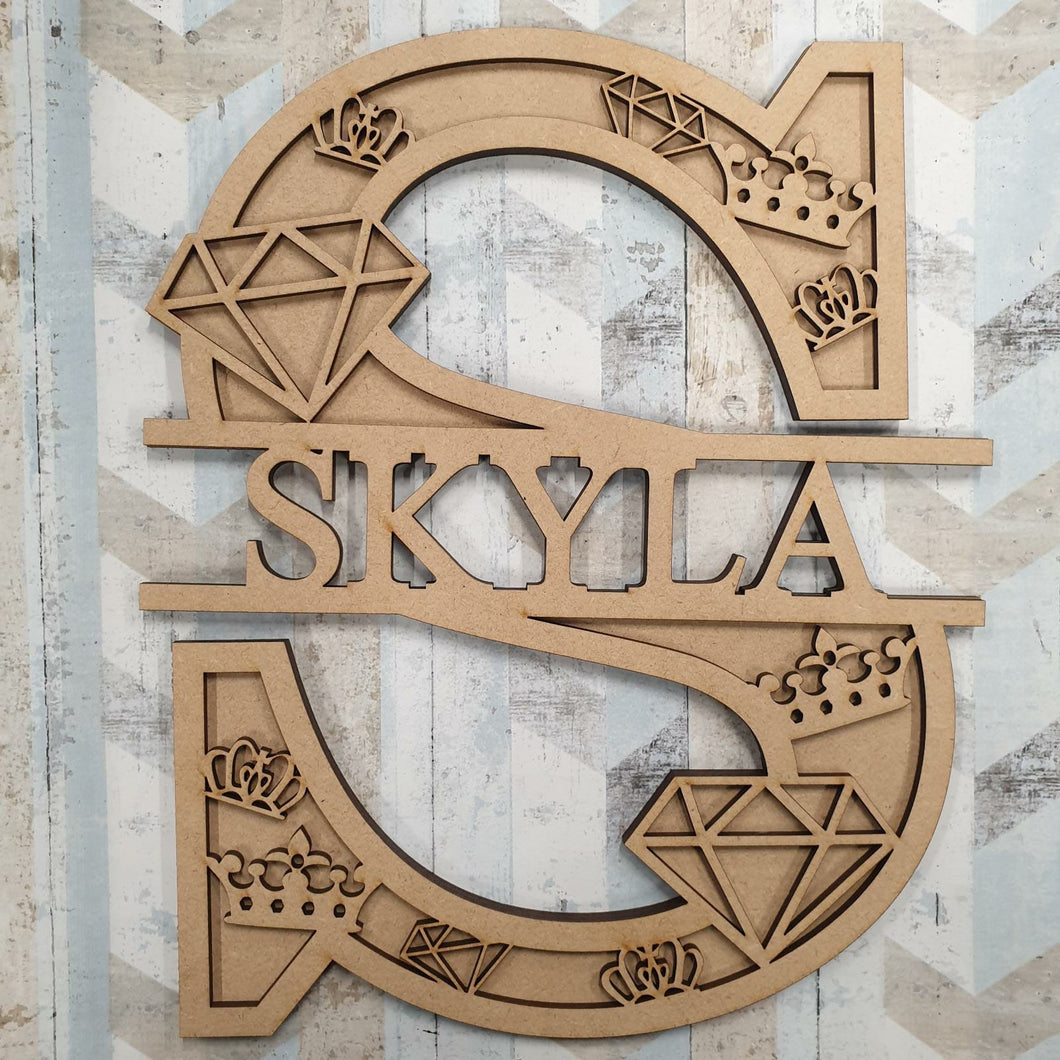 DL054 - MDF Diamond Themed Layered Letter (without name)