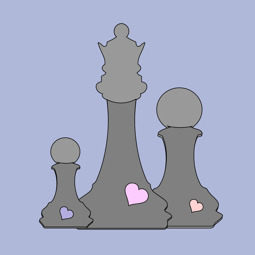 OL385 - MDF Layered  Chess Pieces Large - Create your own layout