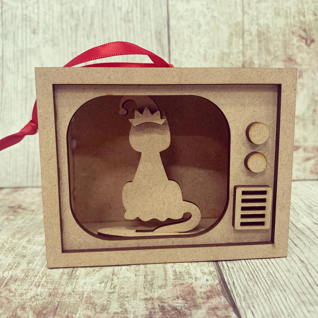 TM002 - MDF Mini TV Bauble Hanging - Cat