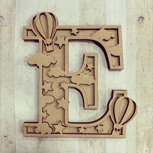 DL005 - MDF Hotair Balloon Themed Layered Letter