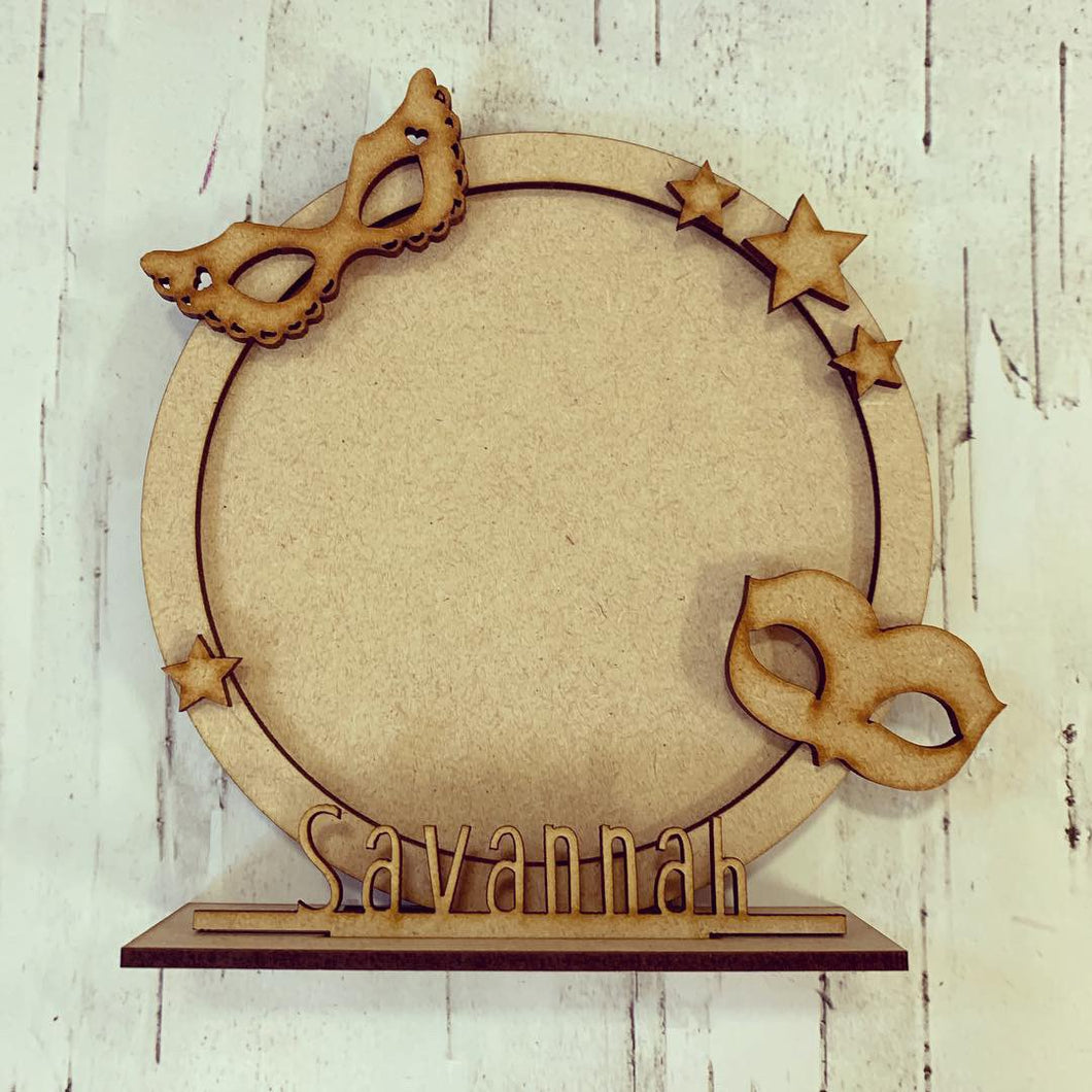 CF030 - MDF Theatre Masks Themed Personalised Freestanding Circular Photo Frame - Olifantjie - Wooden - MDF - Lasercut - Blank - Craft - Kit - Mixed Media - UK