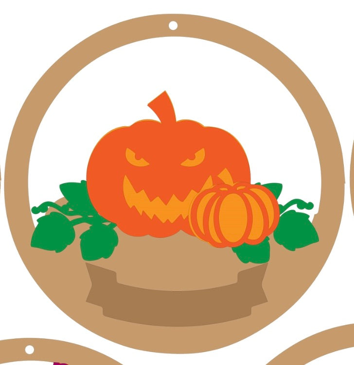 CH142 - MDF & Acrylic Pumpkin Patch Christmas Circle Bauble - Olifantjie - Wooden - MDF - Lasercut - Blank - Craft - Kit - Mixed Media - UK