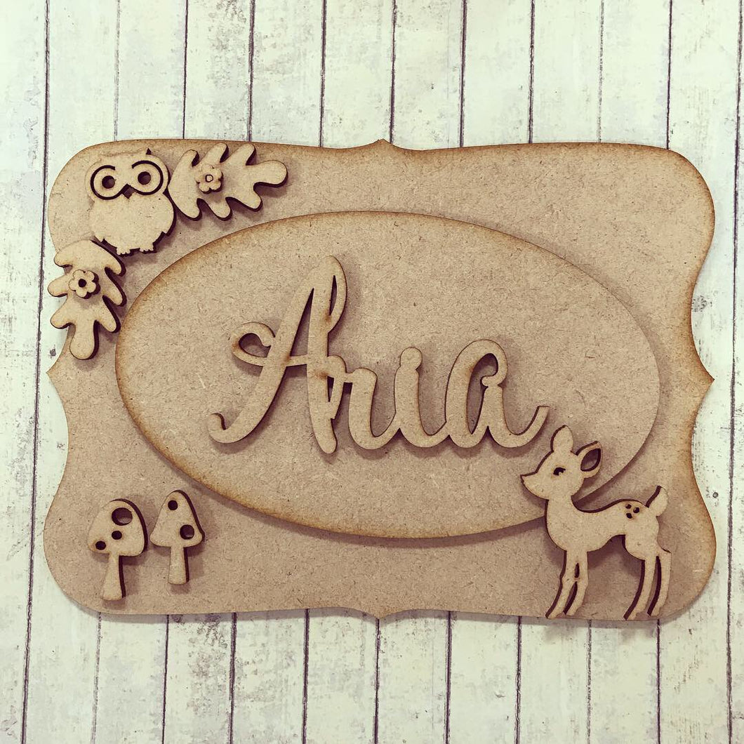 OP004 - MDF Woodland Themed Personalised Plaque