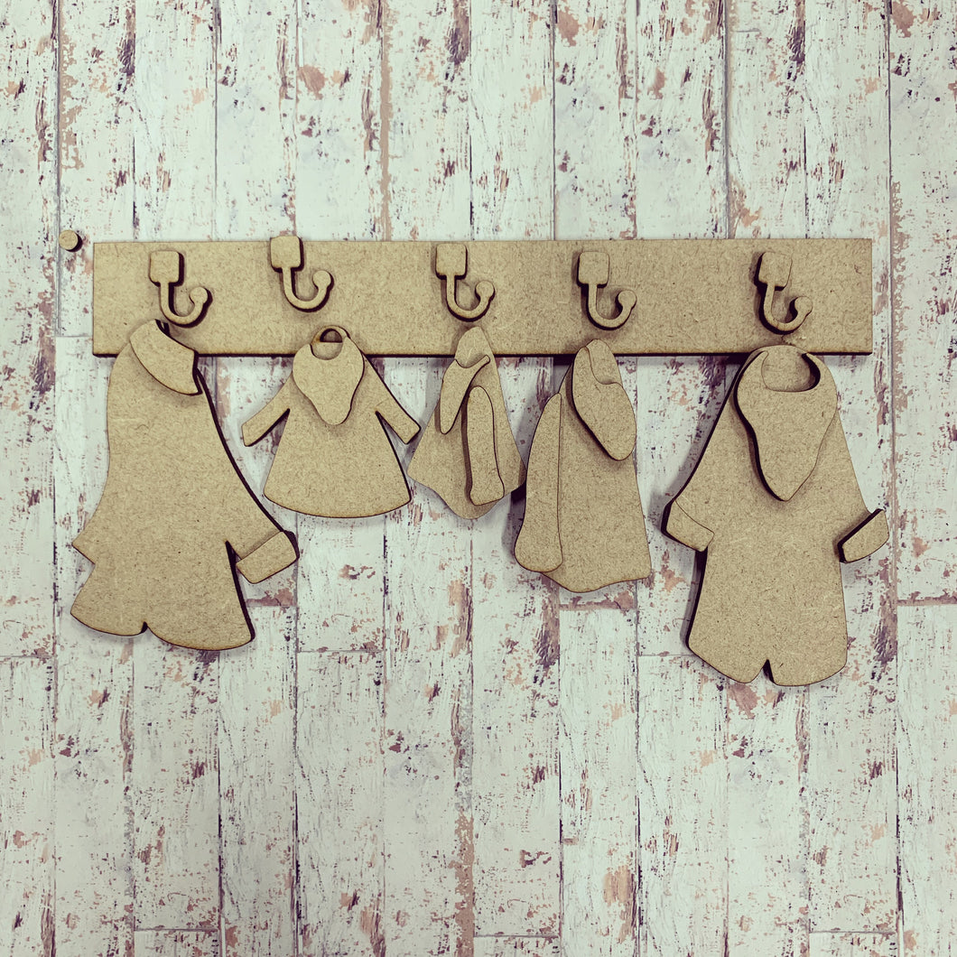FA013 - MDF Family Coats Kit - Olifantjie - Wooden - MDF - Lasercut - Blank - Craft - Kit - Mixed Media - UK