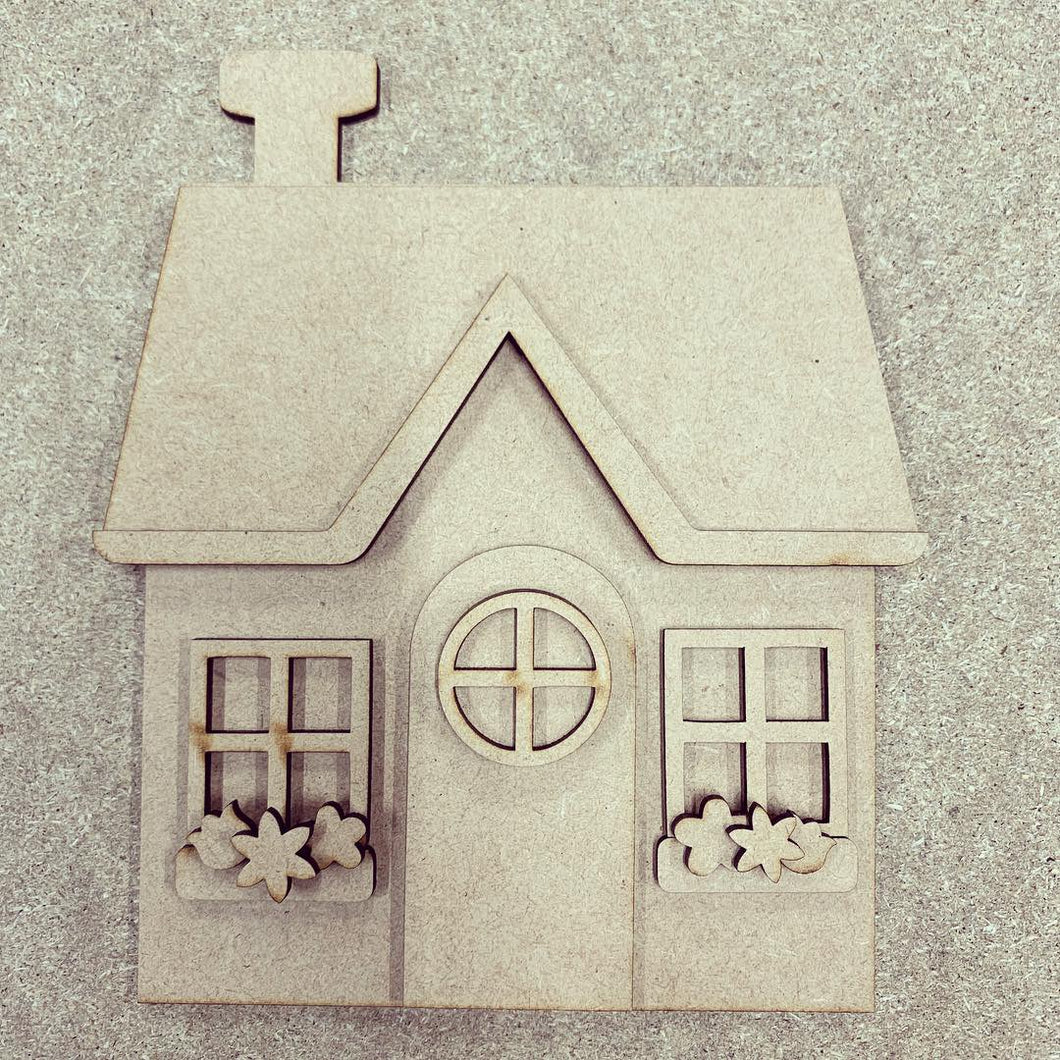 OL292 - MDF Cute House with flowers kit - Olifantjie - Wooden - MDF - Lasercut - Blank - Craft - Kit - Mixed Media - UK