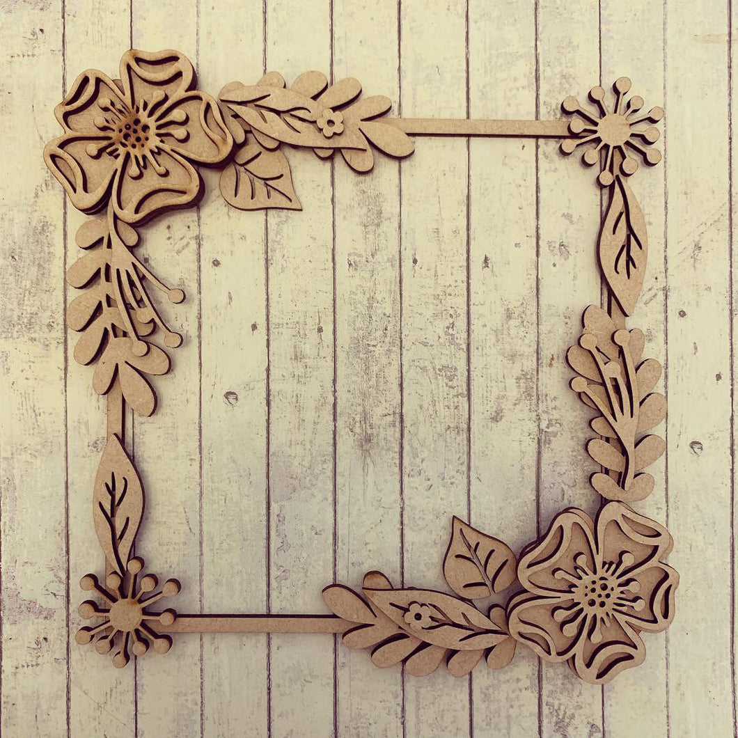 SW012 - MDF Sparkle Flowers Square Floral Wreath