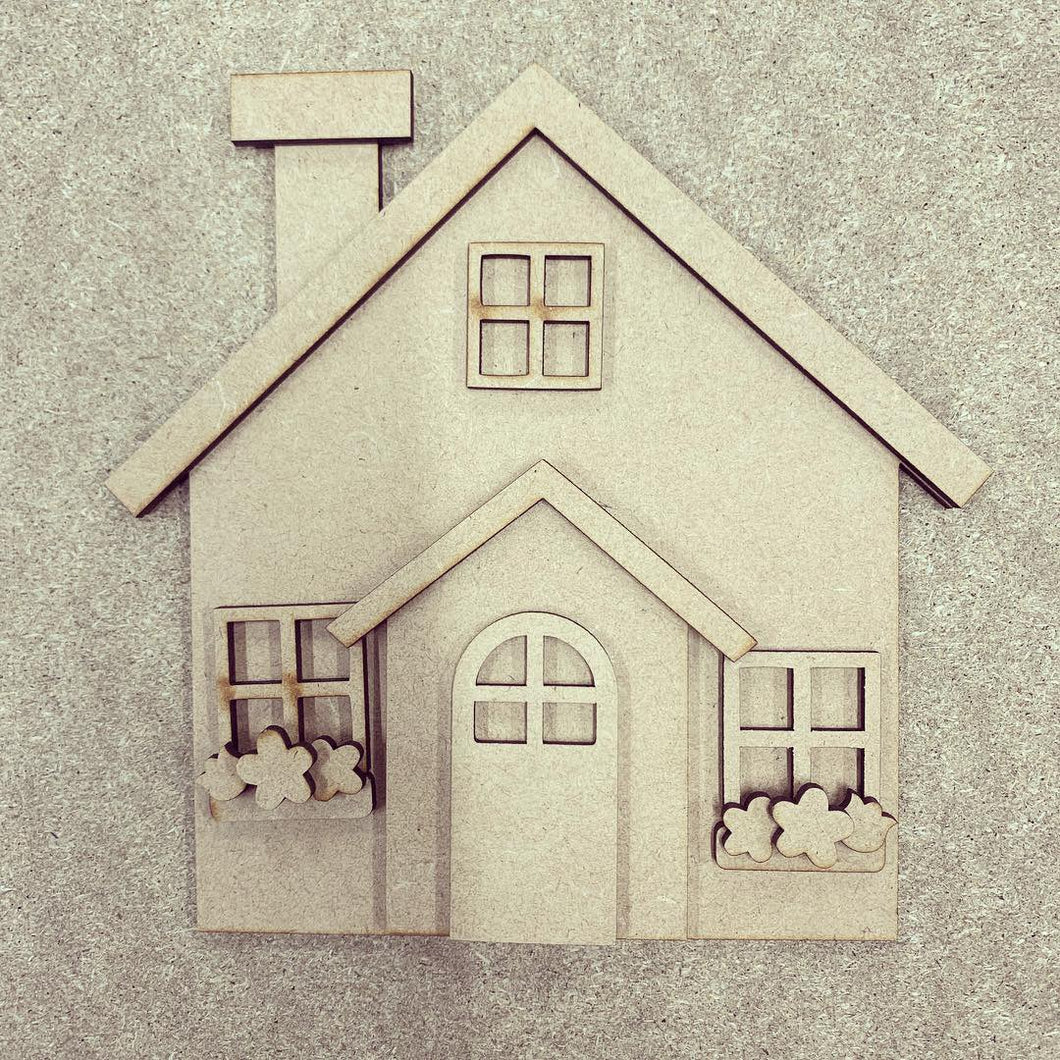 OL291 - MDF House with porch and  flowers kit - Olifantjie - Wooden - MDF - Lasercut - Blank - Craft - Kit - Mixed Media - UK