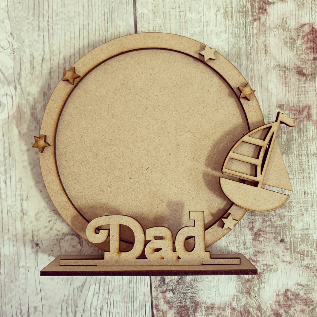CF046 - MDF Sailboat Themed Personalised Freestanding Circular Photo Frame
