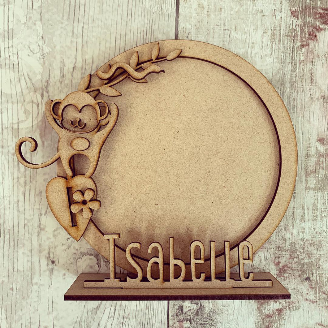 CF037 - MDF Monkey Themed Personalised Freestanding Circular Photo Frame