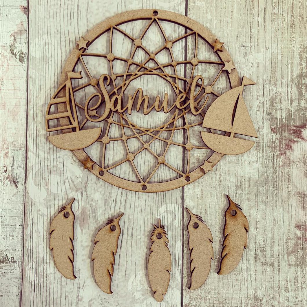 DC054 - MDF Sailboat Dream Catcher - with Initials, Name or Wording - Olifantjie - Wooden - MDF - Lasercut - Blank - Craft - Kit - Mixed Media - UK