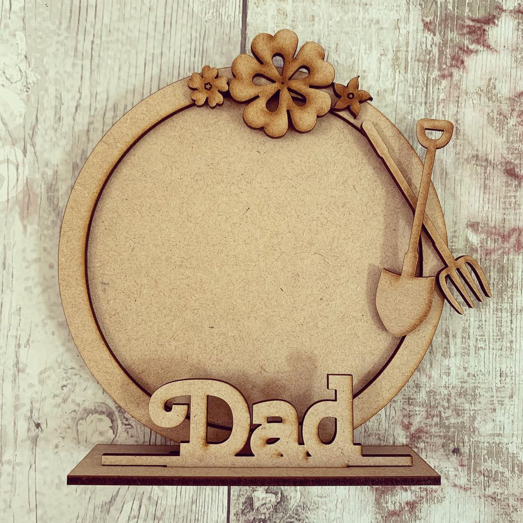 CF043 - MDF Gardening Themed Personalised Freestanding Circular Photo Frame