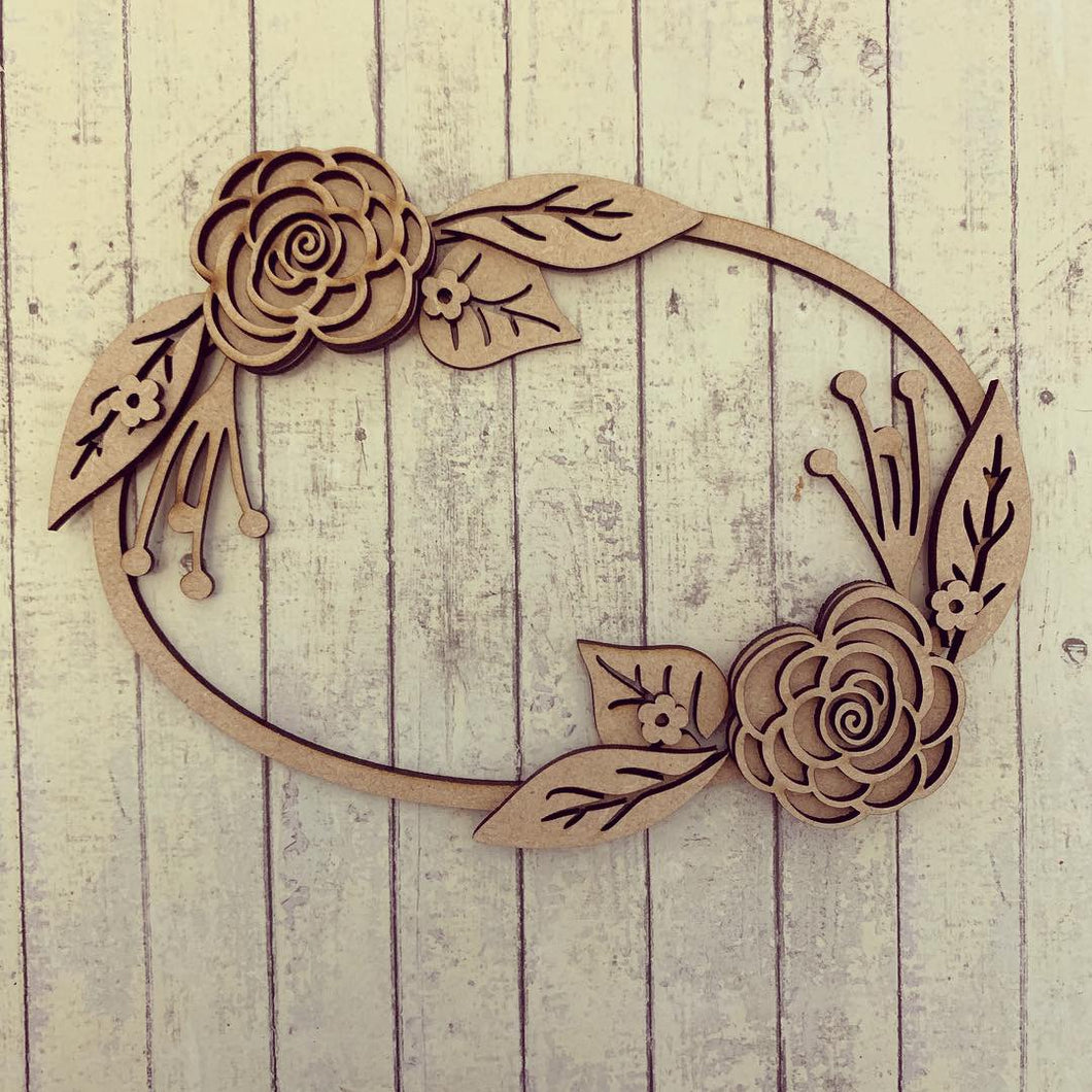 W036 - MDF Double Rose Flower - Floral Wreath