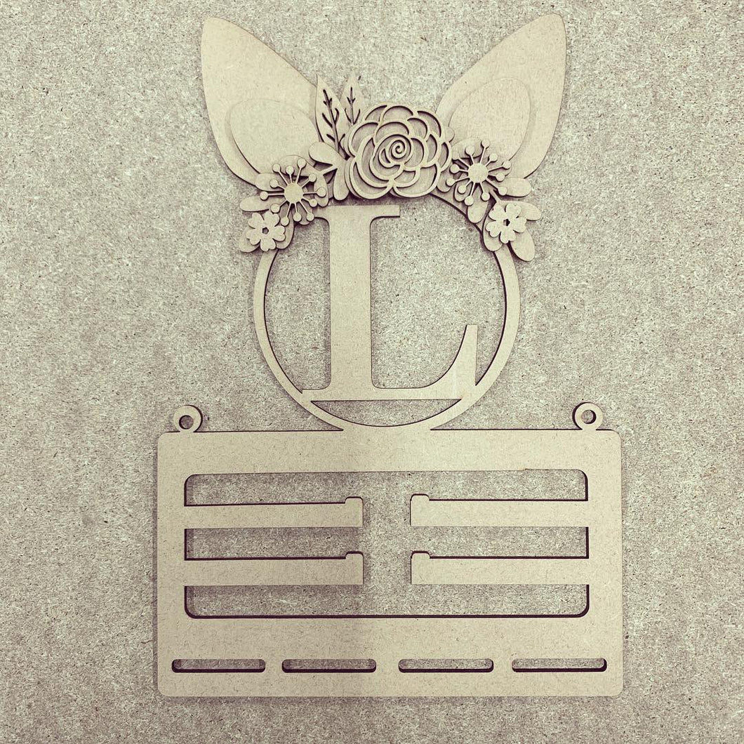 BH003 - MDF Rabbit Ears - Floral Initial Bow Holder