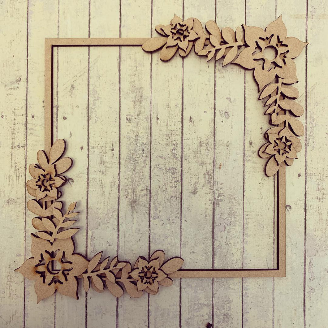 SW018 - MDF Passion Flower Full Corner  Square Floral Wreath