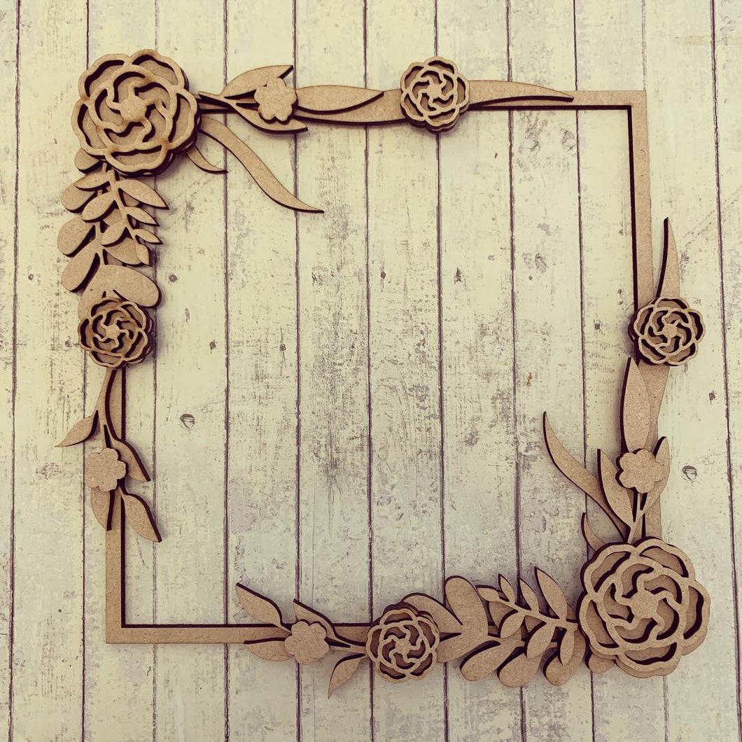 SW016 - MDF Rose Flower Long Stem Square Floral Wreath