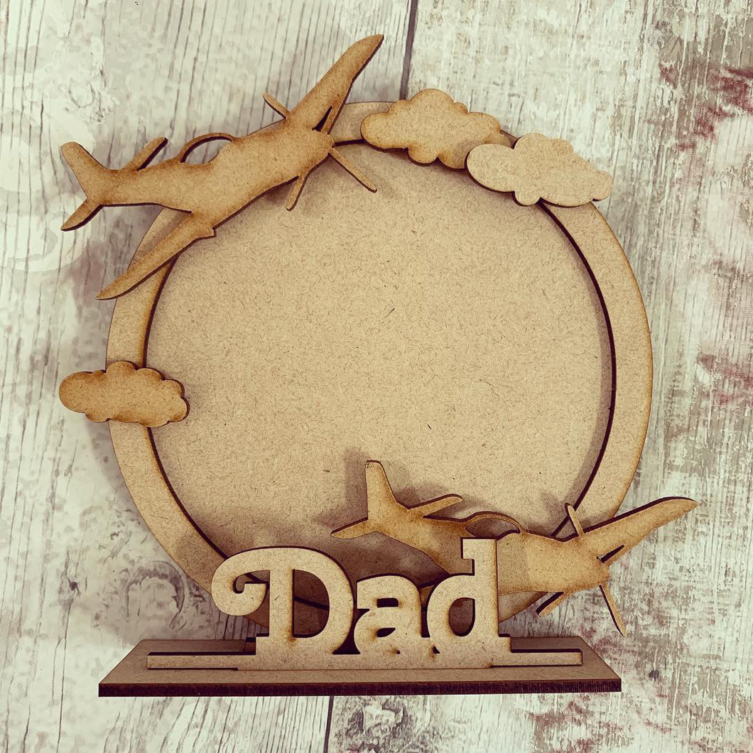 CF044 - MDF Spitfire / Plane Themed Personalised Freestanding Circular Photo Frame