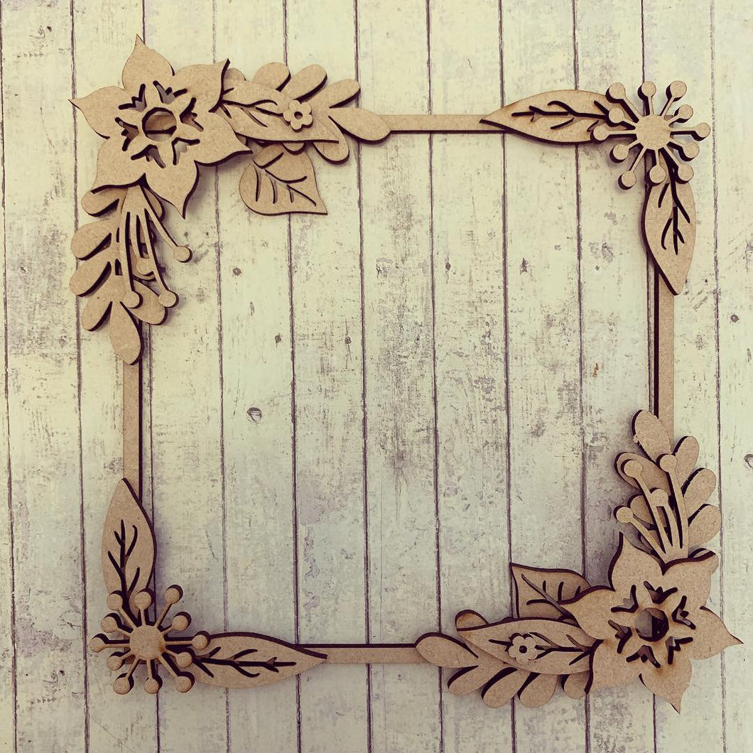 SW011 - MDF Amazing Passion Flowers Square Floral Wreath