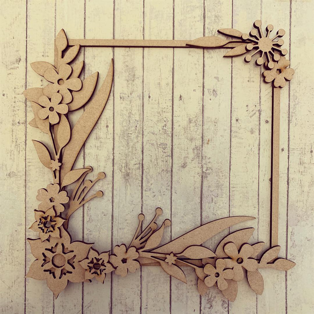 SW002- MDF Passion Flower Square Floral Wreath