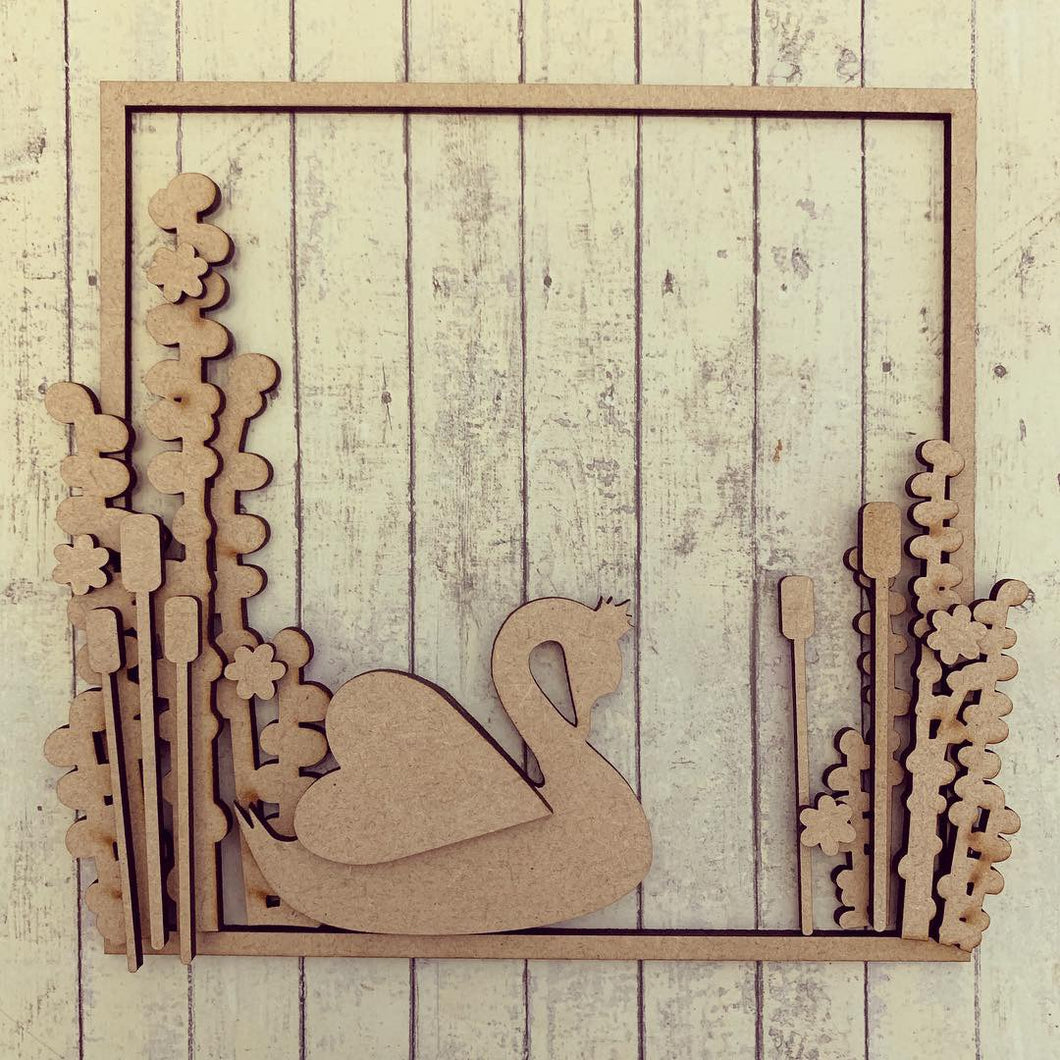 SW020 - MDF Swan Square Floral Wreath - Olifantjie - Wooden - MDF - Lasercut - Blank - Craft - Kit - Mixed Media - UK