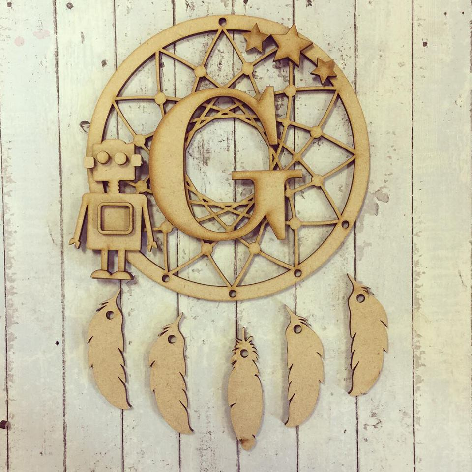 DC024 - MDF Robot Dream Catcher - with Initial, Initials, Name or Wording - Olifantjie - Wooden - MDF - Lasercut - Blank - Craft - Kit - Mixed Media - UK