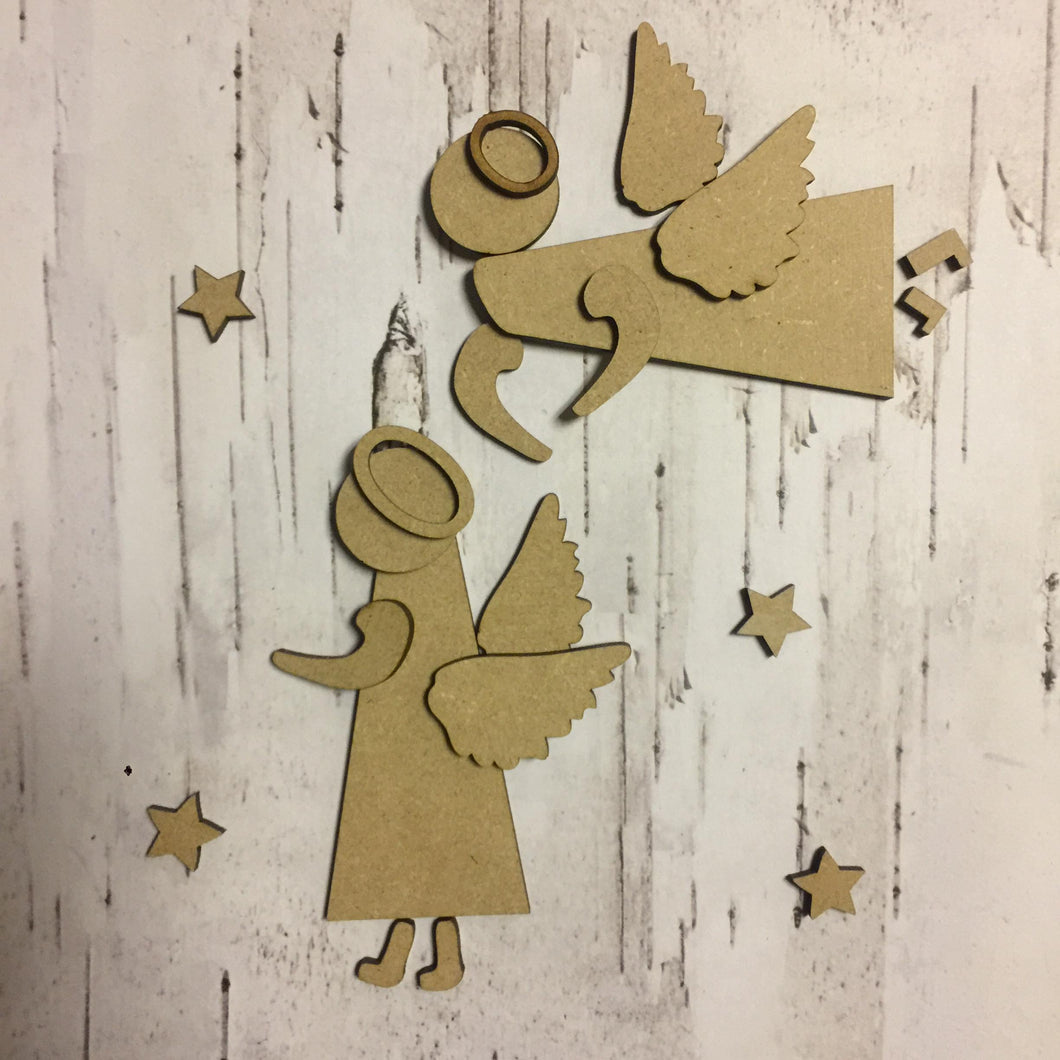 CH058 -MDF Rustic Angels - Set of Two - Olifantjie - Wooden - MDF - Lasercut - Blank - Craft - Kit - Mixed Media - UK