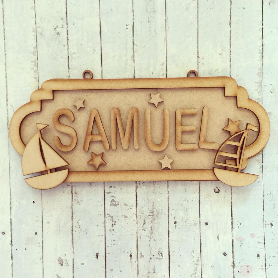 SS051 - MDF Sailboats Personalised Street Sign - Medium (8 letters) - Olifantjie - Wooden - MDF - Lasercut - Blank - Craft - Kit - Mixed Media - UK